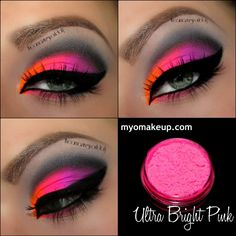 This looks better than urban decay electric Single Eyeshadow Pigments - MYO Eyeshadow Pigment Ultra Bright Pink Mica Loose Powder Cosmetic Makeup (Powered by CubeCart) Makeup Goals, Love Makeup, Makeup Inspo, Makeup Inspiration, Makeup Tips, Beauty Makeup, Pink Makeup, Makeup Geek, Orange Makeup