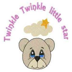 """This free embroidery design is """"Twinkle Twinkle Little Star""""."""