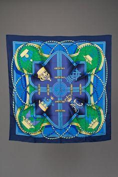 2272c738a531 New Hermes Vibrant Blues Grande Tenue Silk Scarf 90 Chic Et Choc, Chanel  Scarf,