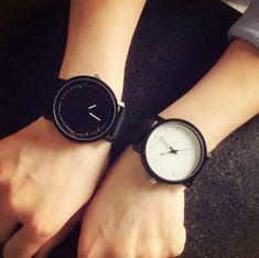 Big Dial Quartz Leather Lovers Wrist Watches