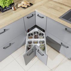 Szuflada narożnikowa | Funkcjonalna kuchnia, projektowanie kuchni, kuchnia, design, projekty. Aranżacje i ergonomia w kuchni. Jak zaprojektować kuchnię?