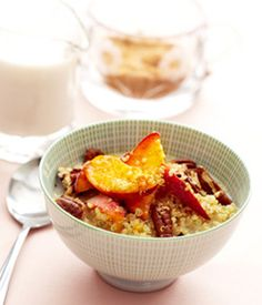 A Healthy Breakfast Idea: Cinnamon Quinoa Cereal with Peaches and Toasted Pecans