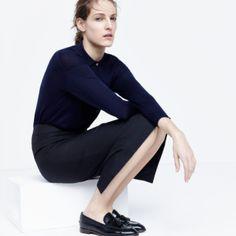 J.Crew women's long-sleeve polo shirt, director pencil skirt, Catbird™ 14k gold hoop dream earrings and Biella tassel loafers.