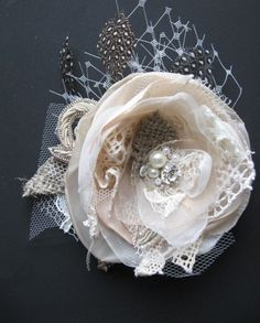 Vintage+Wedding+hairpiece+burlap+Fascinator+bridal+by+LeFlowers   This could also be used as decor for the present instead of traditional bow