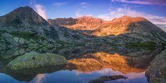 A beautiful sunset over the beautiful peak of Peleaga, Romania