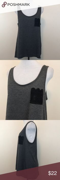 """LOL Vintage Lace Pocket Tank Top Condition - good shape, normal wear from wearing and washing  Color - gray, black   Measurements - appx while laying flat   Underarm to underarm - 17.5"""" Shoulder to hem - front 25.5"""" back 27.5""""  Material - see photo with tag   SS112517/5 - B8 LOL Vintage Tops Tank Tops"""