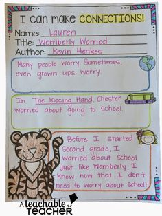 Teaching making connections (text to self, text to text, text to world...) Reading Comprehension Strategies Animal Style! Cute ideas! $