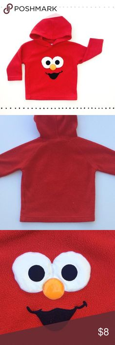 Elmo •Fleece •Hooded • Pullover A red fleece hoodie• vinyl eyes & nose detail • shows wear & piling• price reflects • smoke free dog friendly home Shirts & Tops
