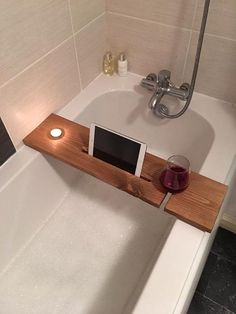 Bathtub Bud bath tray with candle tablet and by ShabbyShelvesStore