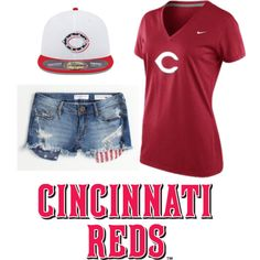 """""""Red Hot in Cincinnati Reds"""" by lids4hats on Polyvore"""