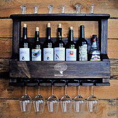 Купить БАР НАСТЕННЫЙ на 7 бутылок ИЗ ДУБА с БРАШИРОВКОЙ - коричневый, мини-бар