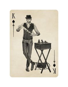 Buskers Playing Cards by Mana Playing Cards: The King of Spades | more here: http://playingcardcollector.net/2015/02/17/2015-week-7-upcoming-decks/