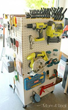 For Larry in the garage/shop - or even me in my scrapbooking/craft room. Make a portable storage caddy to hold your tools, paint supplies, and anything else! Diy Garage Storage, Storage Caddy, Tool Storage, Storage Ideas, Basement Storage, Storage Shelving, Shelving Units, Storage Room, Closet Storage