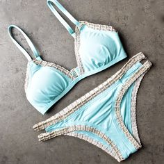 bikini lab - mix & match weaving on a jet plane triangle bikini (top only) - blue - shophearts - 1