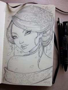 Winter Geisha Moleskine sketch by Sabinerich on deviantART