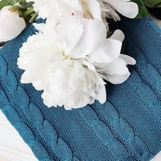White #peonies and amazing ocean #blue #bedcover by Wannabe Decor