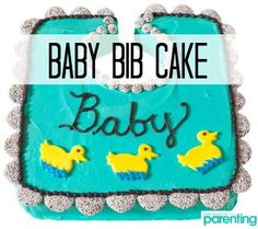 Adaptable for any shower theme, this easy baby bib cake gets its ruffles from nonpareils and duckling design from rolled-out fruit chews.