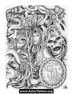 Aztec Woman Tattoo Designs 02 - http://aztectattoo.org/aztec-woman-tattoo-designs-02/
