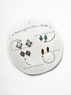 Meaningful Stone Stud Set | This super cute stud multi-pack comes with four pairs of stud earrings. Refer to the inspirational descriptions on the card to find out the significance of each.  American made.   *By Free People