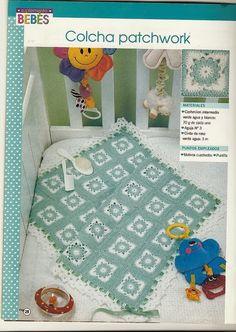 lo spazio di lilla: Copertina per neonato all'uncinetto millequadri