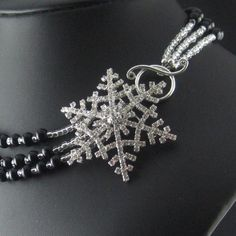 Black Beaded Snowflake Brooch Multistrand Necklace