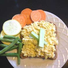 My healthy egg salad sandwich!  Three egg whites, one yolk, a tsp of greek yogurt, dollop of spicy or Dijon mustard, salt, pepper, paprika, chile powder, garlic powder (all spices to taste, but LIGHT on the salt). Use one slice of ezekiel toast to lower carbs and keep protein high. Use any remaining egg salad as a veggie dip on the side.
