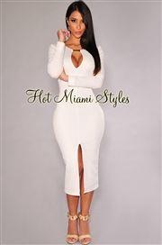 Off-White Textured Peep Hole Long Sleeves Midi Dress
