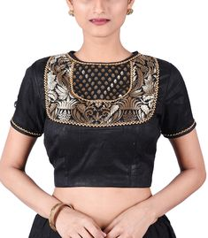 Black Raw Silk Designer Blouse - BL40062 | Indian Silk House Agencies