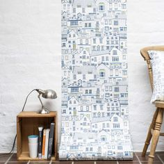 Coastal Cottages wallpaper sample, architectural digital print on wallpaper by Jessica Hogarth