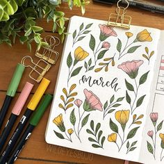 Monthly spread - Florals for March Bullet Journal Goals Page, March Bullet Journal, Bullet Journal Cover Ideas, Bullet Journal Banner, Bullet Journal Lettering Ideas, Bullet Journal Notebook, Bullet Journal Aesthetic, Bullet Journal School, Bullet Journal Spread