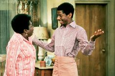 Esther Rolle and Jimmie Walker Good Times Tv Show, Slammed, Comedians, Chef Jackets, Tv Shows, Men Casual, Turtle Neck, Culture, People