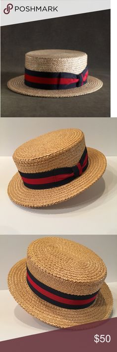Brooks Brothers | The Great Gatsby Boater Hat From The Great Gatsby Collection. Natural Straw boater hat with navy and red ribbon. Retails at Brooks Brothers for $99. Summer perfect!!!! Like new condition! Brooks Brothers Accessories Hats