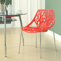 ModWay Furniture Stencil Dining Side Chair in Red - Beyond the Rack