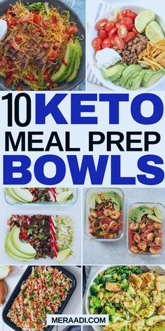 10 keto meal prep bowls that are great for healthy eating and weight loss! I'm so glad I found these keto meal prep recipes for the week! Now I don't have to worry about what I'm going to be eating for lunch and dinner on the keto diet! Lunch Meal Prep, Meal Prep Bowls, Easy Meal Prep, Healthy Meal Prep, Keto Meal, Easy Low Carb Lunches, Healthy Low Carb Recipes, Diet Recipes, Healthy Snacks