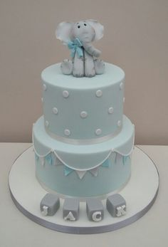 Baby Blue Christening Cake - Baby Blue Christening Cake – cake by The Buttercream Pantry - Baby Boy Christening Decorations, Baby Boy Christening Cake, Boys First Birthday Cake, Baby Birthday Cakes, Christening Cake Toppers, Elephant Baby Shower Cake, Elephant Cakes, Baby Shower Cakes For Boys, Baby Boy Cakes