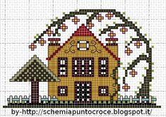 Ricami e schemi a Punto Croce gratuiti: Piccole case a punto croce