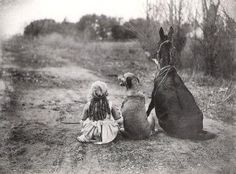 Old vintage photo ... friends 2 legged and 4 legged sitting on a path - horse, dog and small child