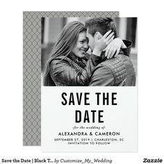 Save the Date | Black Text on White with Photo Card