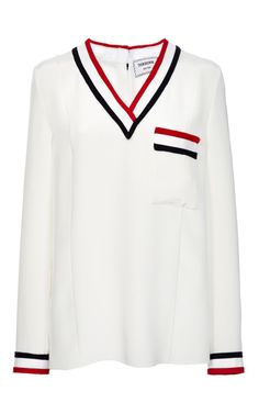 Cricket V-Neck Top by Thom Browne for Preorder on Moda Operandi