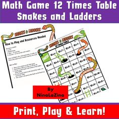 Printable/ Kids Printable Games/Learning and School/ Educational/ 12 Times Table / Snakes and Ladders/ Travel Activities/ Math Fun/ Numbers Multiplication Games For Kids, Fun Math, 12 Times Table, Printable Math Games, Maths Paper, Board Games For Kids, Diy Games, Travel Activities, Ladders