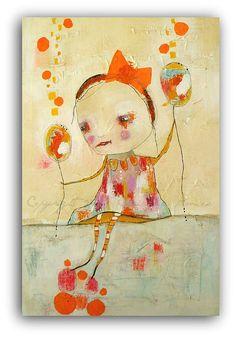 Large Acrylic Painting Girl with Orange Bow by Christina Romeo