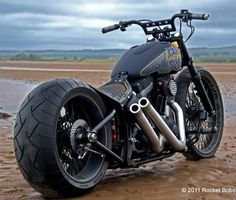 matte gray harley softail-based custom - repined by www.vikingbags.com/ #VikingBags