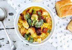 Chipotle Cheddar Corn Chowder with Bacon-Corn Bread Crumble | www.floatingkitchen.net