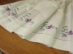 French Vintage Cream Linen Sheet Lilac Embroidery $29.99
