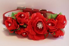 Love Red floral Dog Collar. Red  Flowes with Rhinestone -High Quality Red Leather Collar,  Wedding Dog Accessory, Cute Christmas Gift via Etsy
