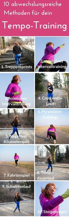 Run faster at last - more variety for tempo training - Elke Endlich schneller laufen - Mehr Abwechslung fürs Tempo-Training Variety for your tempo training - With these 10 methods you will finally learn to run faster and increase your stamina massively! Fitness Workouts, Training Fitness, Speed Training, Sport Fitness, Running Workouts, Running Tips, Fitness Gym, Fitness Hacks, Easy Fitness