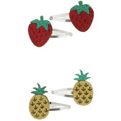 Miss Selfridge Fruit Hair Clips ($6) ❤ liked on Polyvore featuring accessories, hair accessories, red, miss selfridge, hair clip accessories, red hair clip, metal hair clips and red hair accessories