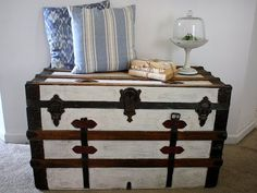 I have had this old wooden steamer trunk sitting in my upstairs craft room (which is a hot MESS, by the way), and I just kept filling it with fabrics and extra glue sticks, etc. I liked how the trunk looked; it had been painted blue before and then stripped, so you could see some...Continue Reading