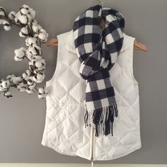 "NWT J Crew Buffalo Check Scarf NEW WITH TAGS-- navy and white buffalo check scarf with fringe ends. 21"" wide by 78"" long (not including fringe) 100% acrylic so it is very soft and warm! ⭐️Wardrobe Refresh Host Pick J. Crew Accessories Scarves & Wraps"