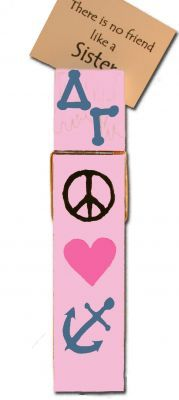 paint this giant clothes pin with stencils and supplies from diygreek.com. Check out this great website for lots of sorority craft ideas and supplies.